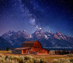 Teton Nights1 copy (Darren White Photography) Tags: snow mountains night barn stars landscape country wyoming tetons milkyway clearskies darrenwhite outdoorphotographer darrenwhitephotography