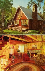 Swiss Boyne built by Steve Bahnick Blakeslee PA (Edge and corner wear) Tags: vacation house building home pine vintage fireplace swiss interior room postcard style chrome card housing rug chalet hook trade paneling postwar knotty