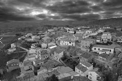 narboneta (erikruiz) Tags: naturaleza blancoynegro blanco photoshop y negro pueblo cielo nubes tormenta monte casas antiguo salvaje narboneta