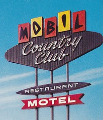 Mobil Country Club Motel San Jose Sign Close-Up (hmdavid) Tags: california sign club vintage restaurant postcard country sanjose motel mobil 1960s