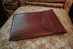 Macbook Air Case (Slowly Black) Tags: handmade laptop sleeve handstitched laptopcase macbookair horween arraworks