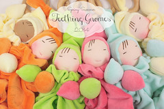 Teething Gnomes Spring-Summer 2014 (The Pine Cone Gnome) Tags: pink blue summer orange baby green yellow coral alaska tangerine wooden spring lemon aqua natural pastel waldorf shannon anchorage cotton lime morgan teething velour steiner washable wooll