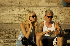 A couple in Rome (Ed Yourdon) Tags: rome sunglasses tattoo couple wifebeater piazzadelpopolo tshort