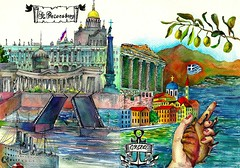 """Illustrations 17-18 """"St. Petersburg and Greece"""" to artproject An Endless book (olhamoiseienko) Tags: sea color church illustration watercolor creativity cool graphics capital creative illustrations drawings colored illustrator draw coloredpencils illustrating         endlessbook"""