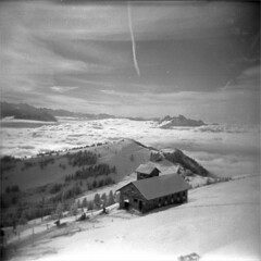 rigi (thomasw.) Tags: travel schnee winter bw snow alps 120 schweiz switzerland holga europa europe suisse suiza sw mf alpen rigi