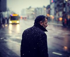 Next bus arrival... (Vicktor Abrahams) Tags: street snow bus amsterdam lights bokeh f14 streetphotography sigma olympus streetphoto snowing snowdrop omd streetshot straat 30mm em10 olympusdigitalcamera bokehlicious