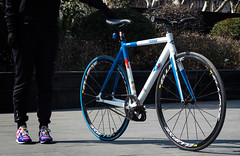 Rider Profile: Xiao Jing (Factory Five) Tags: china girl bike bicycle factory shanghai 5 five profile gear chick fixed fixie miche rider mavic cinelli