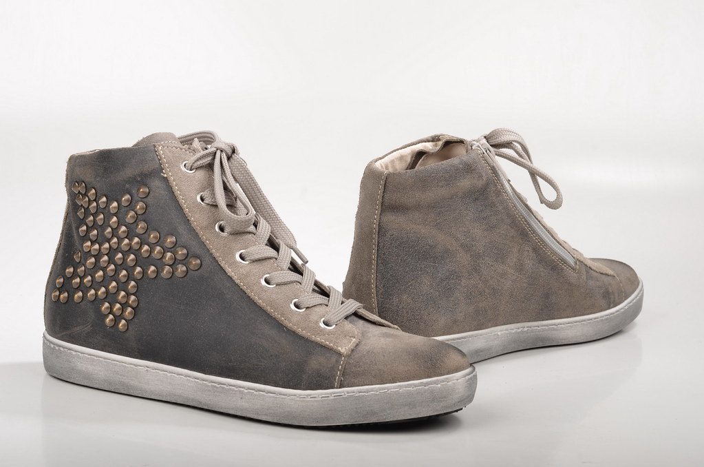 Perfekt Spera High Top Sneaker Mit Nieten 1119 Veloursleder Grau / Taupe (2) (