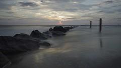 Tybee Island Jetties - Color (MickMo10) Tags: ocean seascape color water sunrise ga georgia lens island photography long exposure pentax widescreen 8 atlantic filter tybee nd format f8 15mm f4 seconds k5 density ratio jetties neutral 16x9 k5ii