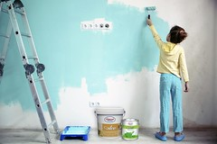 Child painting the wall (bright_tayyab@y7mail.com) Tags: blue stilllife white house color home girl yellow wall painting fun person design kid paint child hand little teal interior room small nursery brush indoors decorating repair painter roller casual renovation outlet stepladder helping preteen helper shabbychic constructiontools