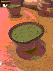 Too Much Caffeine for the Camera (sjrankin) Tags: cup japan restaurant sapporo hokkaido edited mug greentea processed ocha filtered 17may2016