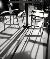 Legs (Janey Song) Tags: street sunset shadow people bw white black sunshine mall table blackwhite legs chairs foodcourt vancouvercanada