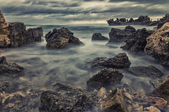 Dark and Brooding (Astronomy*Domine) Tags: color beach wet water clouds canon dark point rocks perth nd nik tamron westernaustralia peron 6d kenko efex