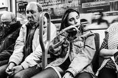 La actitud es la llave 2 (Nebelkuss) Tags: madrid street blackandwhite bw blancoynegro underground metro attitude instant moment momentos actitud instantes callejeras elzoohumano thehumanzoo ladrondemomentos panasonicgx7 zuiko17f18 instantsthieve
