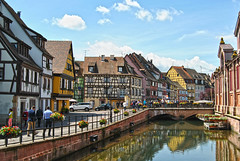 Loveliness of Colmar (elfcvk) Tags: street venice houses sun france color cute la canal spring colorful europe european sunny medieval colmar alsace half lovely aquaduct petite canale timbered