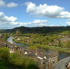 Some of Bridgnorth and the River Severn (southglosguytwo) Tags: road trees sky water clouds buildings spring shropshire may riversevern severnvalley bridgnorth 2016 cameraphonephoto