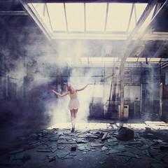 Her Last Dance (Lieke Anna) Tags: inspiration selfportrait art canon dark back dance ballerina looking decay smoke memories fine solo conceptual past urbex