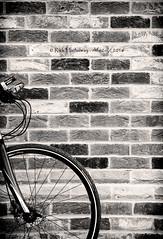 Huw's bike (rhfo2o - rick hathaway photography) Tags: blackandwhite bw bike bicycle wheel wall canon mono kent bricks canoneos7d rhfo2o