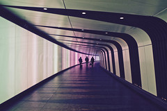 Time Travellers (RosLol) Tags: street uk people travelling london station silhouette architecture underground lights gente candid tunnel kingscross stazione stpancras londra architettura roslol