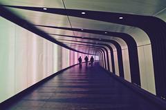 Time Travellers (RosLol) Tags: street uk people travelling london station silhouette architecture underground lights gente candid tunnel kingscross stazione stpancras londra architettura roslol