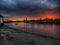 Burning City (hannuvisti) Tags: sunset london thames hdr