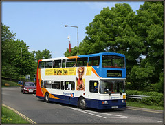 """For 'The Lion King' read """"You have got to be JOKING"""" (Jason 87030) Tags: cloud lamp lights volvo northamptonshire may council publictransport posts northants stagecoach grrr d2 oly thelionking badluck olympian 2016 16699 squiff r699dnh"""