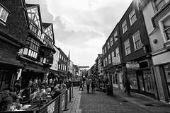 Salisbury High Street (Crisp-13) Tags: street old people white black monochrome mall george high angle wide salisbury wiltshire