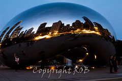 Chicago-2076.jpg (CitizenOfSeoul) Tags: city blue usa chicago night downtown indiana northamerica cloudgate mirroring
