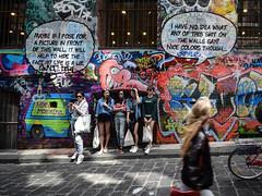 Hosier Lane, Melbourne (hello_mrbaker) Tags: mug tourist laneway hosier ally street art graffiti pavement road bike pedestrian poser pose ironic melbourne sigma 1020mm