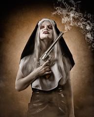 Badass Nun (Tortured Mind) Tags: portrait woman dark gun zoom smoke creative nun horror subject nikkor dslr 54 d800 70200mmf28