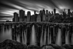 Day 247/365 (Alexander Marte Reyes) Tags: newyorkcity longexposure architecture brooklyn rocks brooklynbridgepark freedomtower daytimelongexposure newyorkctiy oneworldtradecenter