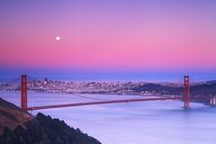 When the sky turns pink (takuono) Tags: sunset sanfrancisco goldengatebridge pink brigde moon city