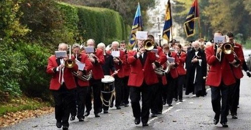 The Band lead the Annual March to the War Memorial