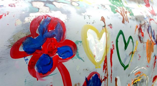 Children's art on an old truck in celebration of Arbor Day at St. John's Park in Winnipeg.