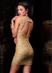 Brilliant Sequins Lace Keyhole Neckline Sheath Homecoming Dress (miyadresses2016) Tags: golddress openbackdress sequindress stunningdress sexydress shortdress lacedress sheathdress promdress