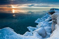 Kenosha Sunrise (myfreeworld) Tags: morning winter usa sun lake ice wisconsin sunrise midwest unitedstates lakemichigan greatlakes shore icefloes lakeshore northamerica fl february kenosha kenoshacounty