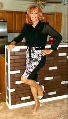 Black n Purple Skirt (bobbievnc) Tags: tgirl crossdresser redhair longhair blouse blackblouse skirt shortskirt tightskirt tanpantyhose pantyhose pantyhoselegs heels highheels