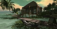 Tropical home (Gaea Oakleaf) Tags: beach sand tropical huts canoes gazebo vegetation lush sandy water itallstartswithasmile