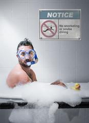 snorkel (simonhutchen) Tags: blue portrait man male guy sign yellow self photography photo bath snorkel notice bubbles scuba rubber foam ducky conceptual selfie