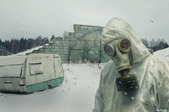 Cold Base (Noro8) Tags: white snow cold abandoned photoshop cool mood mask apocalypse style atmosphere security gas suit processing brushes caravan base biohazard postapocalypse noro8