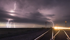 Railroad lightning (John Finney) Tags: usa storm weather danger texas railway thunderstorm lightning extremeweather stormchasing supercell tornadoalley railroadlightning