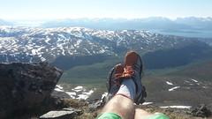 view from Tromsdalstinden (valugi) Tags: mountain snow norway trekking fjord resting midnightsun sunnyday troms tromsdalstinden