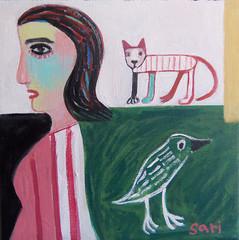 #1350 (sariart2) Tags: original abstract bird art girl cat painting raw ooak selftaught sari figurative childlike azaria noy