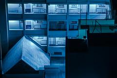 Neuromancer (elsableda) Tags: africa city blue urban building night canon southafrica long exposure neon noir apartments cityscape view tech south fluorescent midnight scifi fi johannesburg sci cyberpunk joburg dystopia dystopian