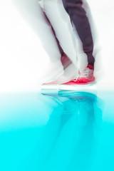 put on your dancing shoes (ResiSambesi) Tags: museumfrneuekunstfreiburg freiburg peterzimmermann schulevonfreiburg mdchenschule harz kunst art resin colors floor coloredfloor sleek blue shoes danicingshoes blurism inmotion motion unsharpeness bewegungsunschrfe redshoes spiegelung mirror reflection reflektion schuhe vans rot artful putonyourdancingshoes canoneos650d 1018mm efs1018mm