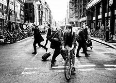 (ClanSurik) Tags: people blackandwhite bw london bicycle crossing streetphotography documentary capture pedxing londonstreetphotography clansurik nikond5300