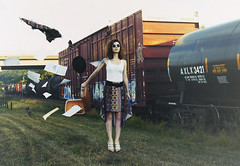 Train (andreannelupien) Tags: travel summer girl beautiful hat leaves train paper creativity outside idea glasses fly flying object levitation trains skirt creation imagine imagination create concept traveling conceptual suitcase ideas levitate