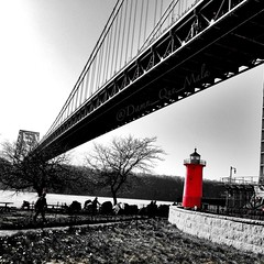 Little Red Lighthouse - George Washington Bridge NYC (damn_que_mala) Tags: nyc bridge red blackandwhite bw lighthouse newyork art nature architecture photography hudsonriver georgewashington colorsplash bnw 4s iphone selectivecolor mobilephotography iphonephotography iphoneart iphoneography iphoneonly iphone4s photoforge2