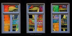 Reflets de graffitis à Amsterdam (Hélène Quintaine) Tags: orange amsterdam jaune gris noir nederland vert bleu abstraction patchwork paysbas fenêtre géométrie reflets triptyque insolite transparence coloré graffitis hollande graphisme peinturemurale flickrcolour