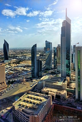 Kuwait City (gaedigiarts) Tags: 2 people tower art architecture clouds buildings painting landscape concrete lights hotel crane note galaxy kuwait interiordesigns